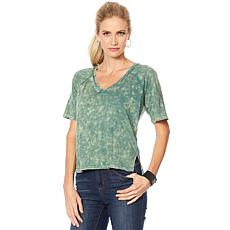 Skinnygirl Acid-Wash Back Zip Tee