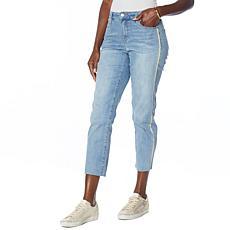 Skinnygirl Celeste Glitter Trim High-Rise Straight Leg Jean