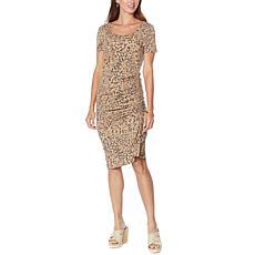 Skinnygirl Connie Short-Sleeve Ruched Midi Dress