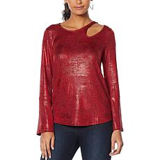Skinnygirl Foiled Jersey Cutout Top