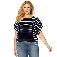 Skinnygirl Striped Boatneck Top