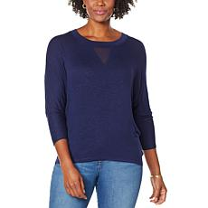 Skinnygirl Truth 3/4-Sleeve Top with Sheer Inset