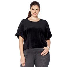 Skinnygirl Tyra Velour Hi-Low Tee with Zipper Back