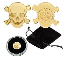 Skull/Crossbones Limited Palau 99.99% 24K Gold $1 Coin