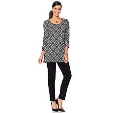Slinky Brand 2-piece 3/4-Sleeve Printed Tunic and Skinny Pant