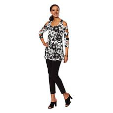 Slinky Brand 2pc 3/4 Ladder-Sleeve Printed Tunic and Pant
