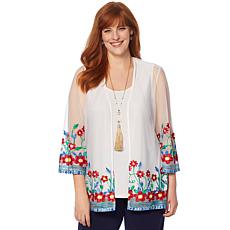 Slinky® Brand 2pc Embroidered Floral Mesh Jacket and Basic Tank