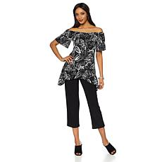 Slinky Brand 2pc On/Off-Shoulder Flounce Tunic and Pant