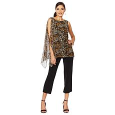 Slinky® Brand 2pc Sleeveless Draped Mesh Tunic with Pant