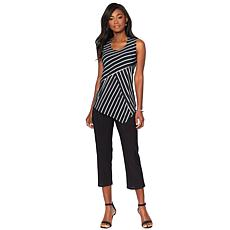 Slinky® Brand 2pc Sleeveless Striped Tunic and Cropped Pant