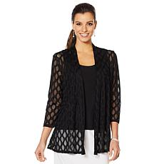 Slinky® Brand 2pc Textured Mesh Jacket with Solid Tank Top