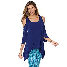 Slinky® Brand 2pk 3/4-Sleeve Cold-Shoulder Sharkbite Tunics
