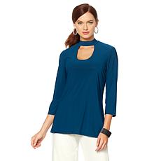Slinky® Brand 2pk 3/4-Sleeve Mock-Neck Cut-Out Tunics