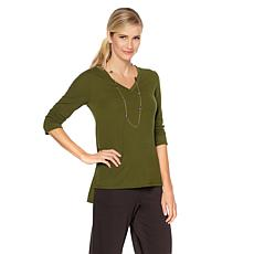 Slinky® Brand 2pk 3/4-Sleeve V-Neck Sweater Tunics