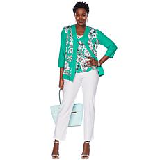 Slinky® Brand 3-piece Printed Jacket and Tank with Solid Pant
