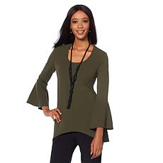 Slinky® Brand 3/4 Bell-Sleeve Textured Tunic