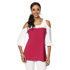Slinky® Brand 3/4 Peasant-Sleeve Colorblock Tunic