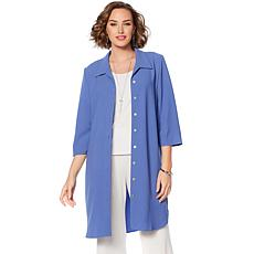 Slinky® Brand 3/4-Sleeve Button-Down Duster/Dress