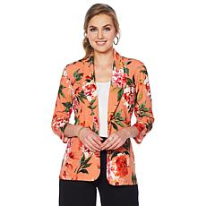 Slinky® Brand 3/4-Sleeve Floral-Print Blazer