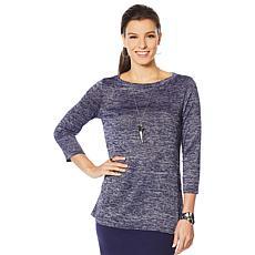 Slinky® Brand 3/4-Sleeve Mélange-Knit Tee