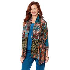 Slinky® Brand 3/4- Sleeve Peplum Printed Sweater Jacket