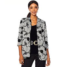 Slinky® Brand 3/4-Sleeve Plaid Jacket with Flocking