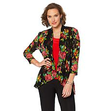Slinky® Brand 3/4-Sleeve Printed Lace Jacket
