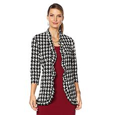 Slinky® Brand 3/4-Sleeve Printed Ruffle Front Duster