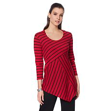 Slinky® Brand 3/4-Sleeve Striped Handkerchief-Hem Tunic
