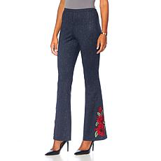 Slinky® Brand Embroidered Denim-Look Ponte Pant