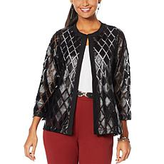 Slinky Brand Faux Leather and Mesh Jacket