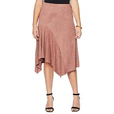 Slinky® Brand Faux Suede Drape-Front Skirt