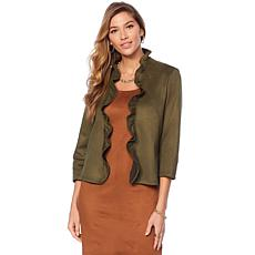 Slinky® Brand Faux Suede Ruffle Jacket