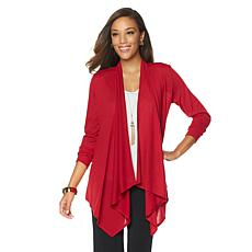 Slinky® Brand Long-Sleeve Drape-Front Knit Jacket