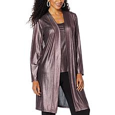 Slinky® Brand Long-Sleeve Foil Knit Duster