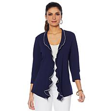 Slinky® Brand Luxe Crepe Ruffle-Front Jacket