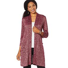 Slinky® Brand Melange Open Front Duster with Pockets