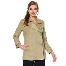 Slinky® Brand Notch Collar Faux Suede Jacket