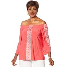 Slinky® Brand On/Off Shoulder Embroidered Tunic