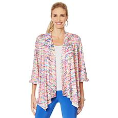 Slinky® Brand Printed Drape-Front Jacket with Ruffle Detail