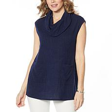 Slinky® Brand Ribbed Cowl-Neck Tunic with Pockets