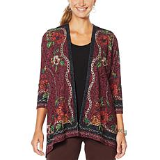 Slinky® Brand Scarf-Print Jacket with Sharkbite Hem