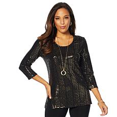 Slinky® Brand Sequin Sparkle 3/4 Sleeve Tunic