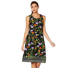 5a78c281370 Slinky® Brand Sleeveless Printed Crepe A-Line Dress