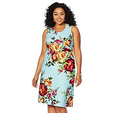 Slinky® Brand Sleeveless Printed Crepe A-Line Dress