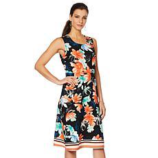 Slinky® Brand Sleeveless Printed Crepe A-Line Dress
