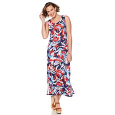 Slinky® Brand Sleeveless Printed Knit Maxi Dress