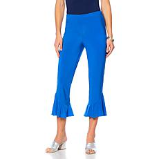 Slinky® Brand Solid Cropped Knit Pant with Flounce Hem
