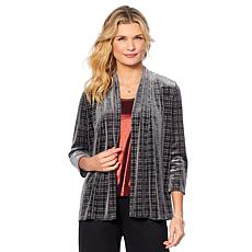 Slinky® Brand Sparkle Plaid Velvet Jacket