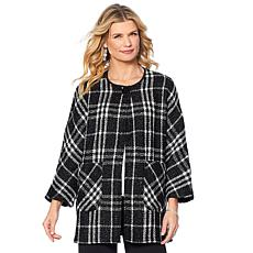 Slinky® Brand Woven Plaid Metallic Cocoon Jacket